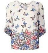 Dorothy Perkins Womens **Billie & Blossom Border Butterfly Blouse- Multi Colour