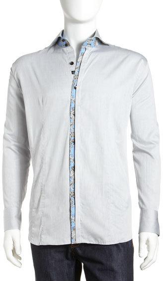 Bogosse Omer Contrast-Trim Button-Down Shirt, Gray