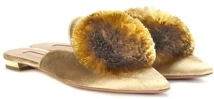 Aquazzura Exclusive to mytheresa.com – Powder Puff velvet slippers
