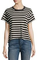 The Great The Cropped Striped Tee, White/Black