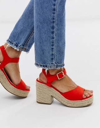 Head Over Heels By Dune Kace red jute cross strap heeled espadrille wedge sandals