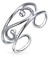 Bling Jewelry Silver Scroll Wide Midi Ring Adjustable Wire Swirl Toe Rings.