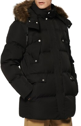 Andrew Marc Belmont Water Resistant Hooded Down & Feather Fill Coat with Faux Fur Trim