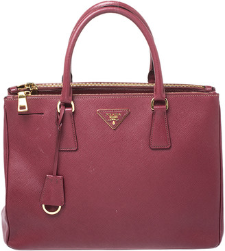 Prada Red Saffiano Lux Leather Medium Galleria Double Zip Tote