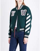 Off-White Ladies Classic Letter-Appliqué Wool-Blend Bomber Jacket