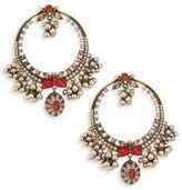 Alexander McQueen Small Crystal & Faux Pearl Hoop Earrings/1