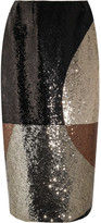 Tom Ford Sequined Stretch-satin Skirt - Brown