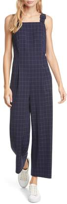 Club Monaco Windowpane Check Crop Jumpsuit