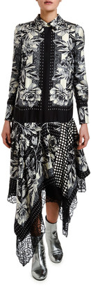 Antonio Marras Rose Foulard Asymmetric Shirtdress