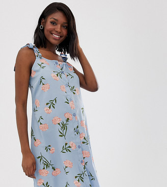 New Look Maternity frill strap summer dress in blue floral print