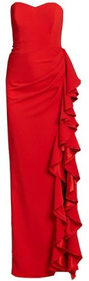 Badgley Mischka Strapless Ruffle Gown
