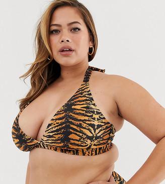 Wolf & Whistle Curve Exclusive Eco triangle bikini top in tiger print