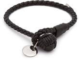 Bottega Veneta Intrecciato-woven knot leather bracelet