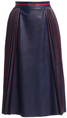 Gucci French Plisse Pleated Leather Skirt