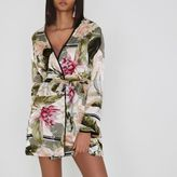 River Island Womens Cream tropical print fleece lined tie robe