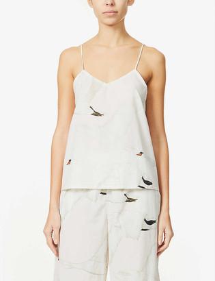 Desmond & Dempsey Leda swan-print organic-cotton cami pyjama top