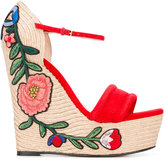 Gucci embroidered platform espadrille sandals - women - Leather - 37