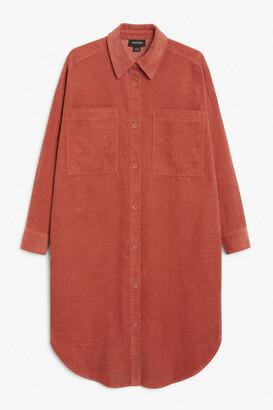Monki Corduroy midi shirt dress