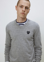 Comme des Garcons Light Grey Black Heart V-neck Pullover