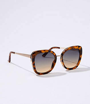 LOFT Tortoiseshell Print Metallic Trim Sunglasses