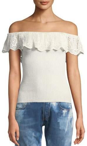 Ralph Lauren Off-the-Shoulder Crochet Ruffle Knit Top
