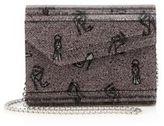 Jimmy Choo Shoe-Print Lame Jacquard Shoulder Bag