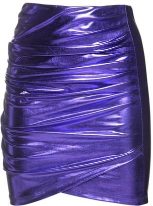The Andamane Diva Draped Metallic Jersey Mini Skirt