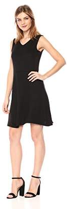Armani Exchange A|X Women's V-Neck Fit and Flare Sleeveless Knee Length Dress