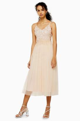 Womens **Embellished Nude Midi Dress By Lace & Beads - Nude