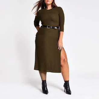 River Island Womens Plus Khaki long sleeve midi dress