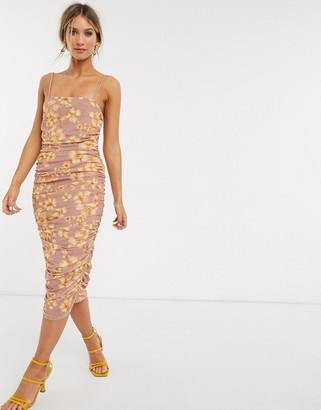 Asos DESIGN cami ruched mesh midi dress in floral print