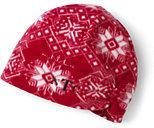 Lands' End Women's 100 Fleece Pattern Hat-Red Fairisle