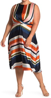 London Times Striped Sleeveless Tie Waist Fit & Flare Dress (Plus Size)