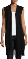 Neiman Marcus Cashmere Sleeveless Vest with Fringe Trim, Black