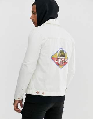 Asos Design DESIGN regular denim jacket in white with back print