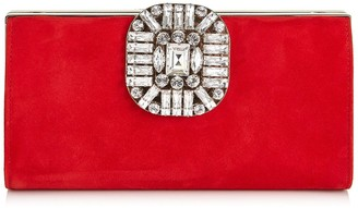 Jimmy Choo LEONIS Red Suede Clutch Bag with Snap Closure
