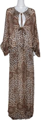 Gucci Roberto Cavalli Brown Animal Print Silk Maxi Dress M