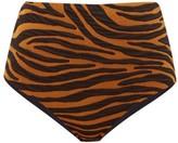 Mara Hoffman Lydia Tiger-jacquard High-rise Bikini Briefs - Womens - Brown Print