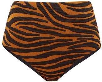 Mara Hoffman Lydia Tiger-jacquard High-rise Bikini Briefs - Brown Print