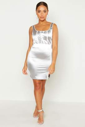 boohoo Square Neck Reflective Panel Mini Dress