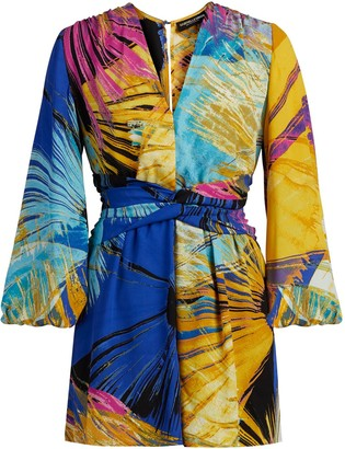 New York & Co. Abstract Print V-Neck Romper - Gabrielle Union Collection