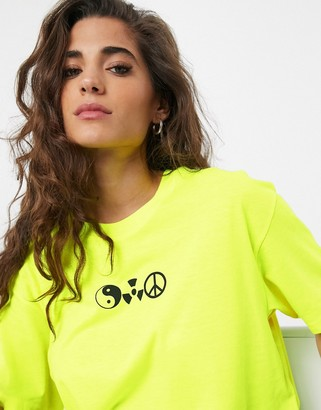 Weekday Easy symbol oversized t-shirt in acid yellow