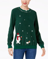 Alfred Dunner Embroidered Snowman Holiday Fleece Sweatshirts