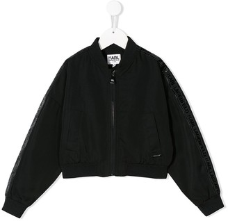 Karl Lagerfeld Paris side logo stripe bomber jacket