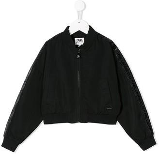Karl Lagerfeld Paris Side Logo Stripe Bomber Jacket