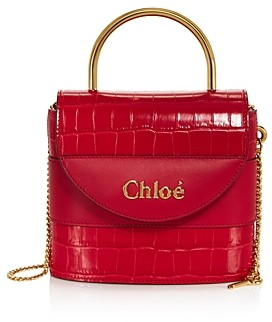 Chloé Aby Small Croc-Embossed Leather Crossbody