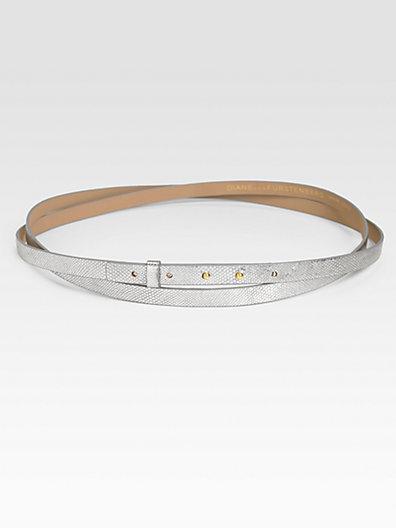 Diane von Furstenberg Haley Double Wrap Metallic Leather Belt