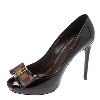 Louis Vuitton Amarante Vernis Leather and Damier Ebene Canvas Bow Valentine Peep Toe Pumps Size 39.5