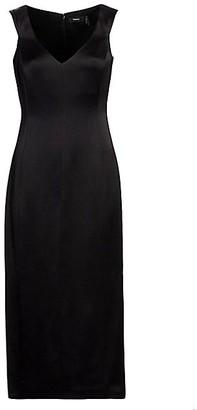 Theory Deep V-Neck Off-the-Shoulder Wool Sheath Dress
