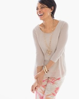 Chico's Light Textured Nina Pullover in Feather Tan